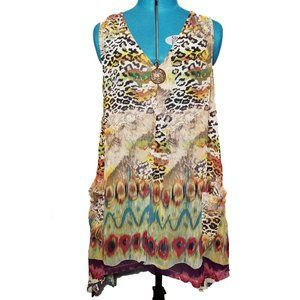 Mirror Image Multi Leopard Sheer Top/Cover Up EUC